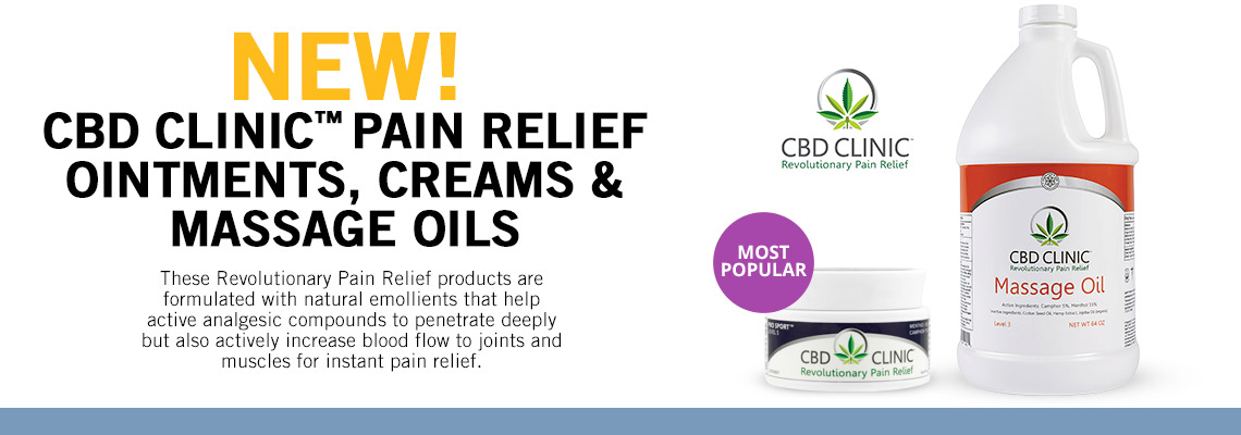 CBD Clinic Pain Relief Ointments Creams Massage Oils
