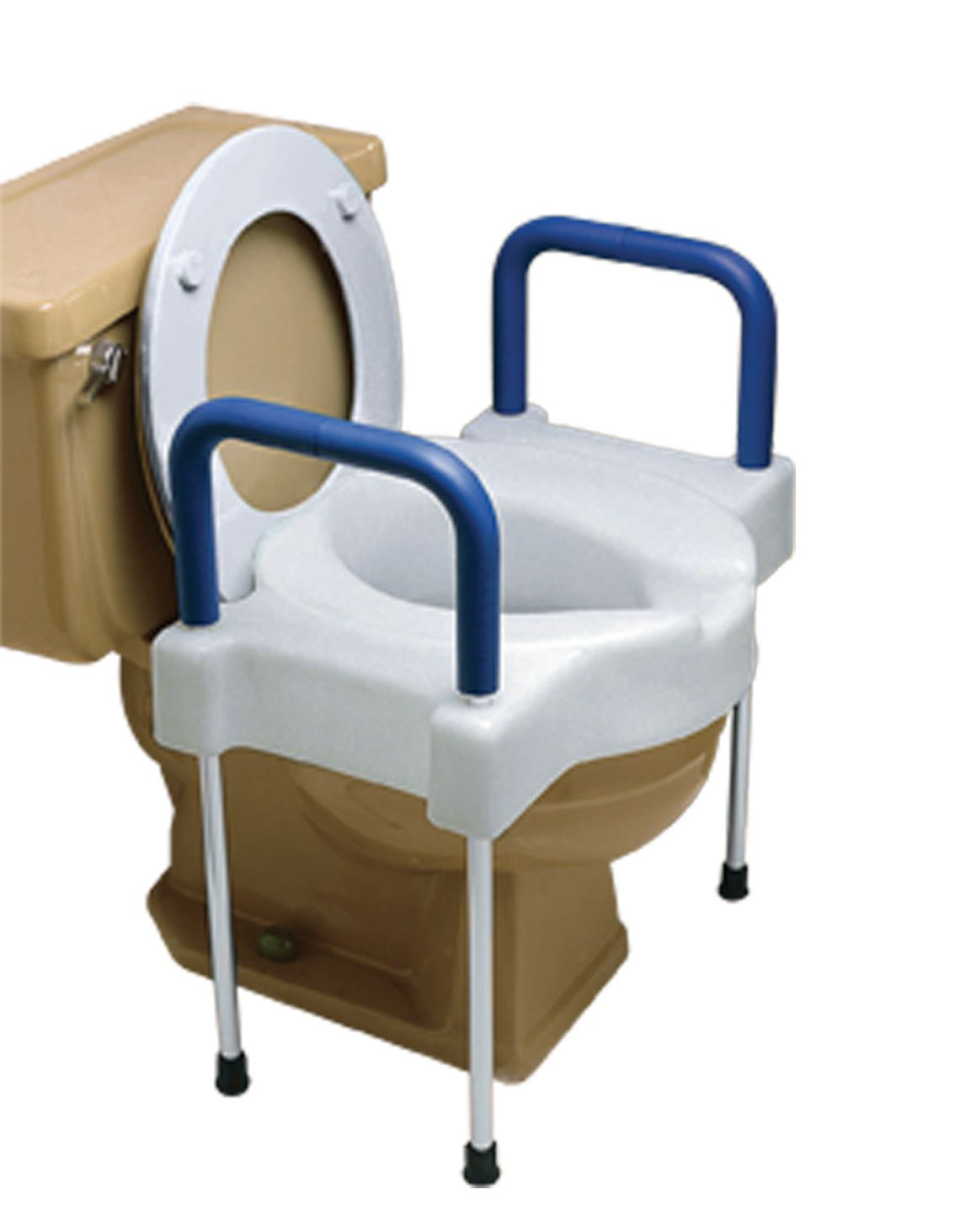 Extra Wide Tall Ette Elevated Toilet Seat With Arm Rests