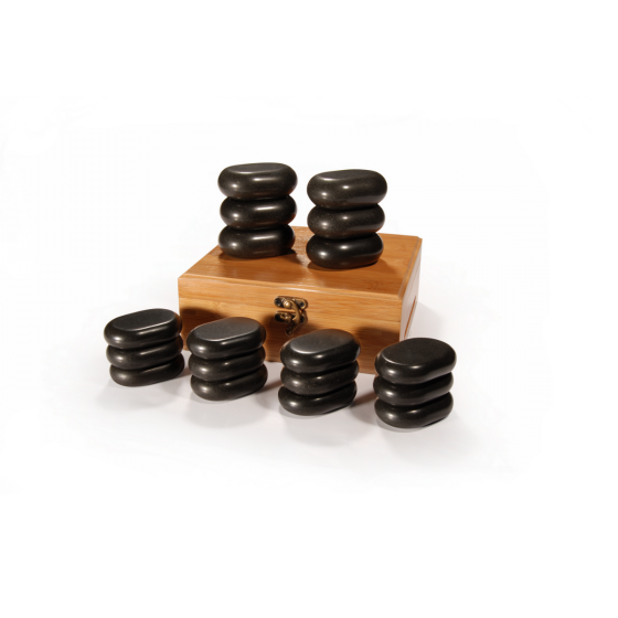 Master® 18 Piece Mini Body Basalt Hot Stone Massage Set with Bamboo Box
