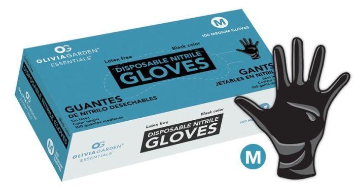 Olivia Garden® Disposable Black Nitrile Gloves