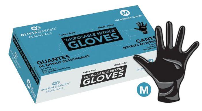 Benchmark Disposable Black Nitrile Gloves - Medium