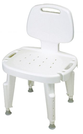 Ableware Bath Safe Height Adjustable Shower Chair with Removable Back - Bath Seat