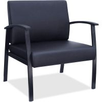 Lorell Big & Tall Black Leather Guest Chair