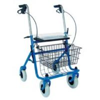 Traditional Steel Rollator Walker with Seat - Blue