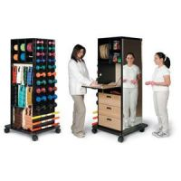 Mega Rack Physical Therapy Weight Rack with Built-in Dispensers, Storage & Mirror