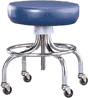 """Mobile Stool With Footring, 18 1/2""""-25 1/4""""H"""